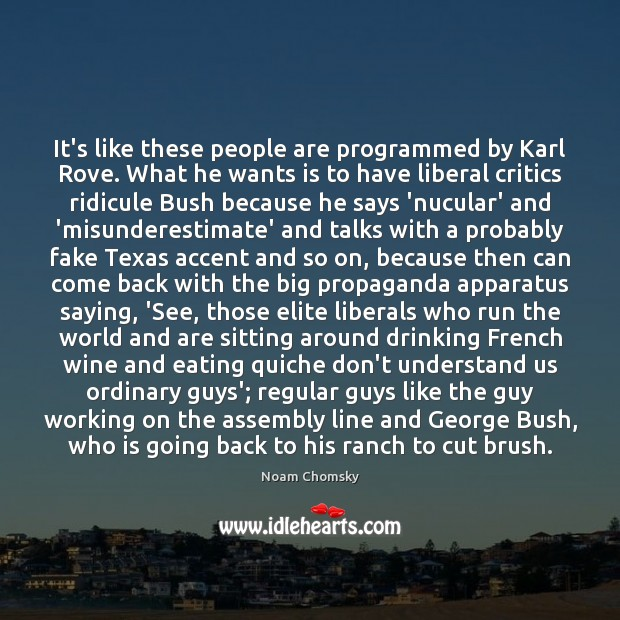 It's like these people are programmed by Karl Rove. What he wants Image