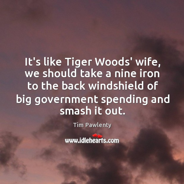 It's like Tiger Woods' wife, we should take a nine iron to Image