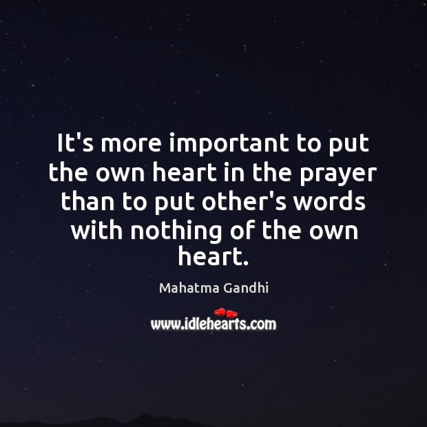 It's more important to put the own heart in the prayer than Image
