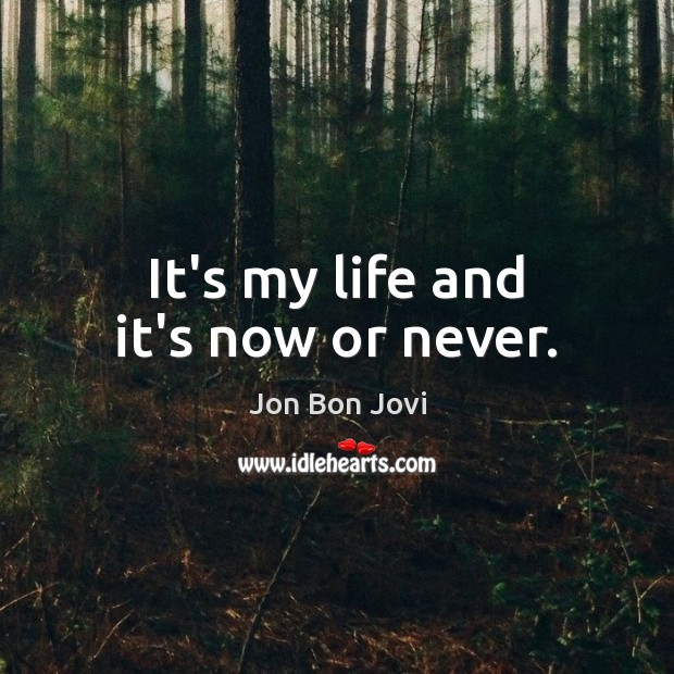 It's my life and it's now or never. Now or Never Quotes Image
