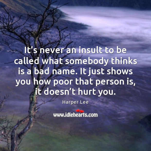 It's never an insult to be called what somebody thinks is Harper Lee Picture Quote