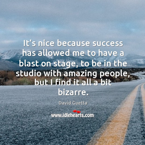 It's nice because success has allowed me to have a blast on stage David Guetta Picture Quote