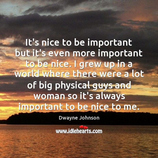 It's nice to be important but it's even more important to be Dwayne Johnson Picture Quote