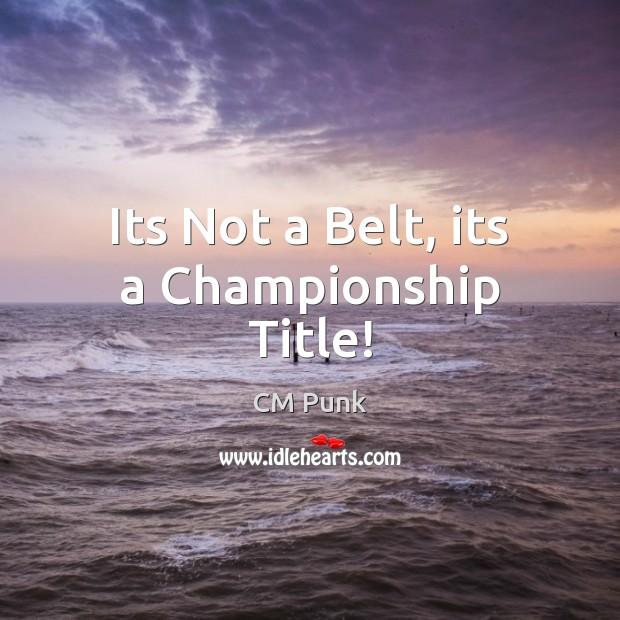 Its Not a Belt, its a Championship Title! Image