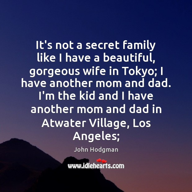 John Hodgman Picture Quote image saying: It's not a secret family like I have a beautiful, gorgeous wife