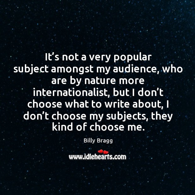 It's not a very popular subject amongst my audience, who are by nature more internationalist Image