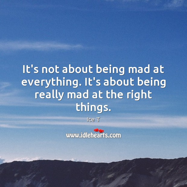 It's not about being mad at everything. It's about being really mad at the right things. Ice T Picture Quote