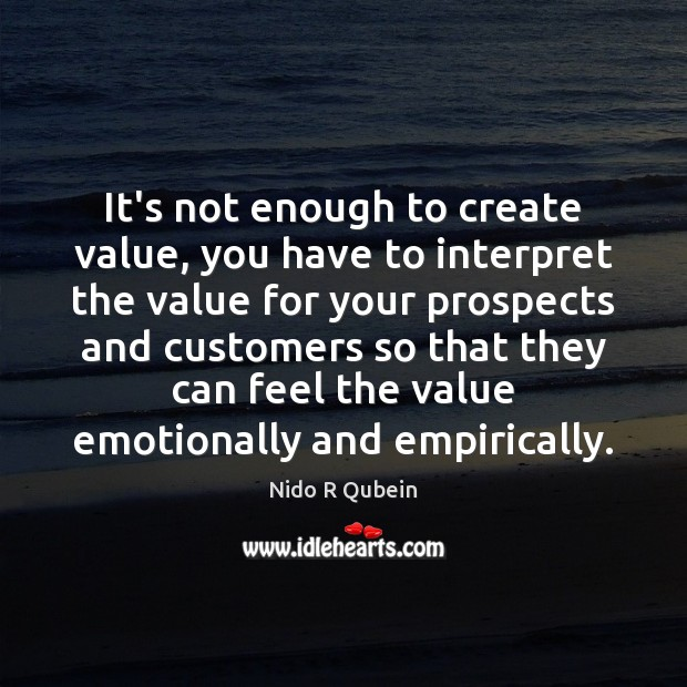 It's not enough to create value, you have to interpret the value Nido R Qubein Picture Quote