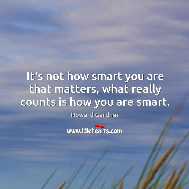 It's not how smart you are that matters, what really counts is how you are smart. Howard Gardner Picture Quote
