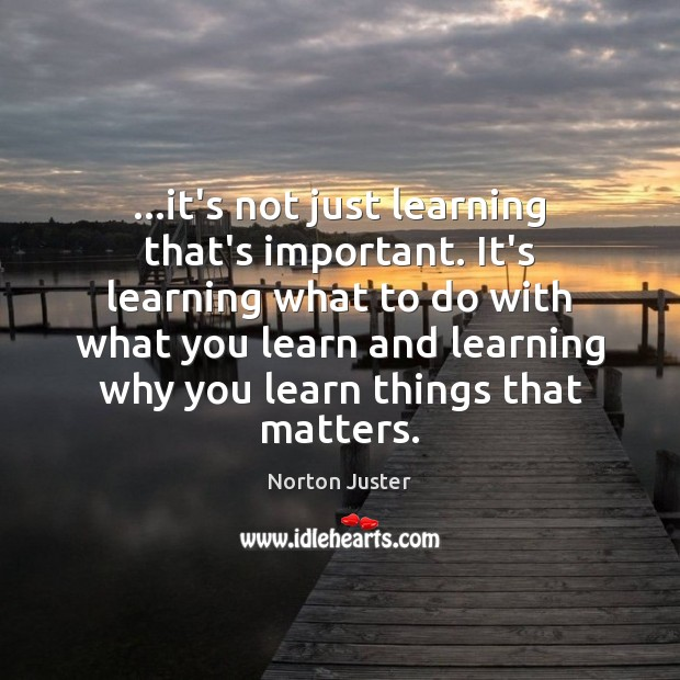 Image, …it's not just learning that's important. It's learning what to do with