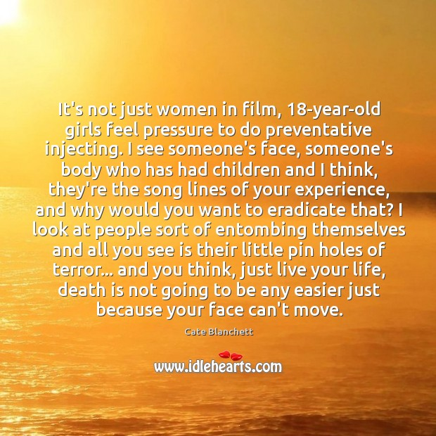 Image, It's not just women in film, 18-year-old girls feel pressure to do