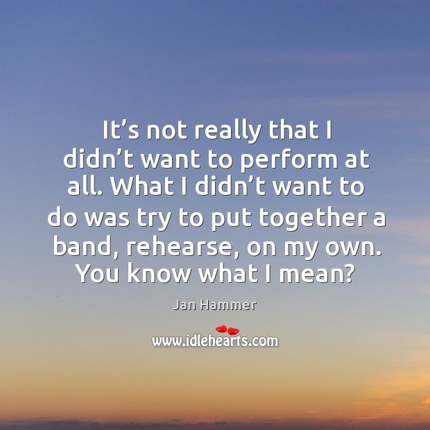 It's not really that I didn't want to perform at all. What I didn't want to do was Jan Hammer Picture Quote