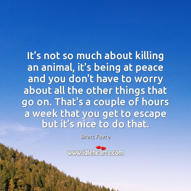 Image, It's not so much about killing an animal, it's being at peace