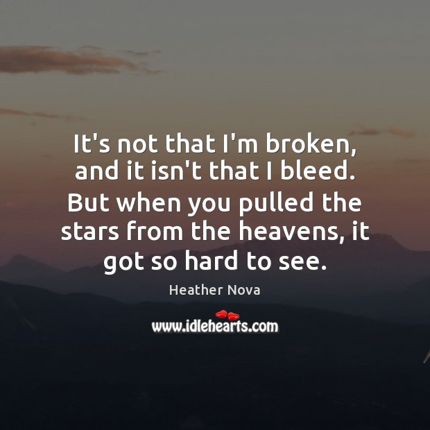 Image, It's not that I'm broken, and it isn't that I bleed. But
