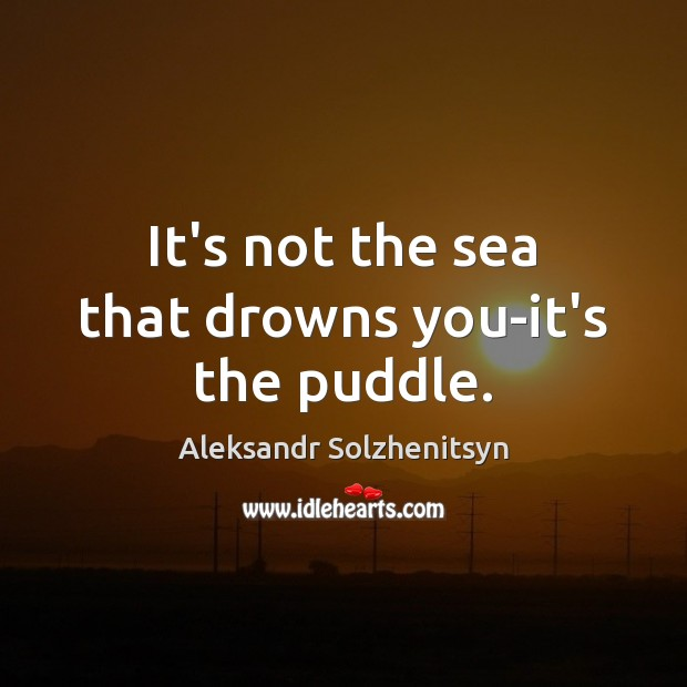 Image, It's not the sea that drowns you-it's the puddle.