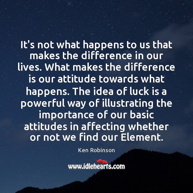 It's not what happens to us that makes the difference in our Ken Robinson Picture Quote