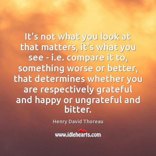 It's not what you look at that matters, it's what you see Compare Quotes Image