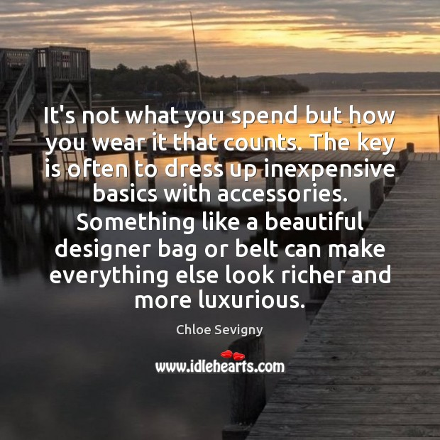 It's not what you spend but how you wear it that counts. Chloe Sevigny Picture Quote