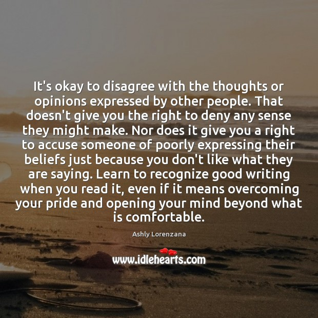 It's okay to disagree with the thoughts or opinions expressed by other Image