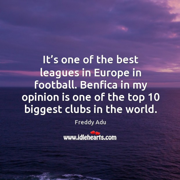 It's one of the best leagues in europe in football. Benfica in my opinion is one of the top 10 biggest clubs in the world. Freddy Adu Picture Quote