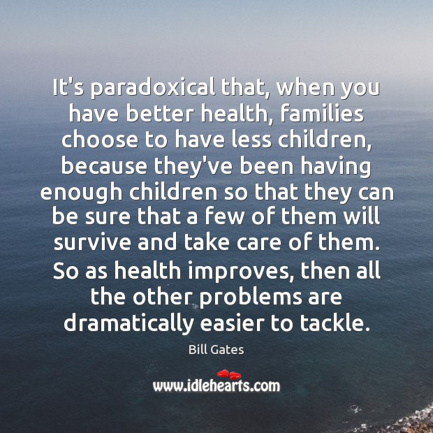 It's paradoxical that, when you have better health, families choose to have Image