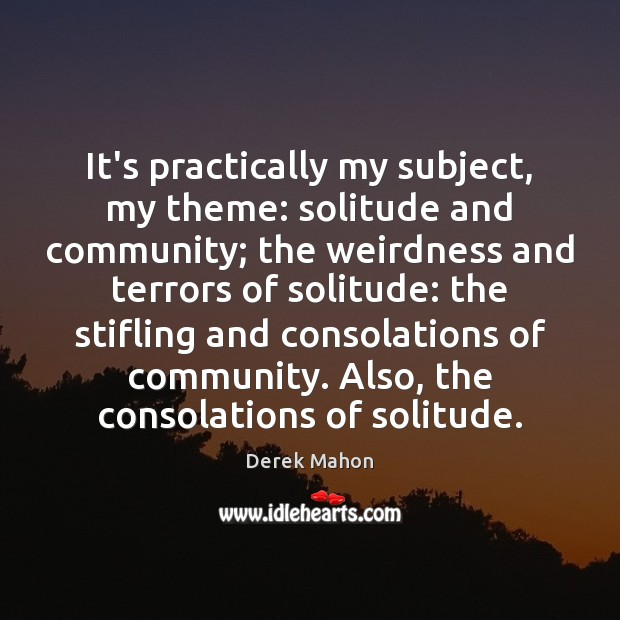 It's practically my subject, my theme: solitude and community; the weirdness and Image