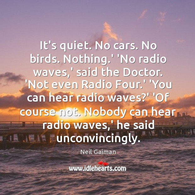 It's quiet. No cars. No birds. Nothing.' 'No radio waves,' Image