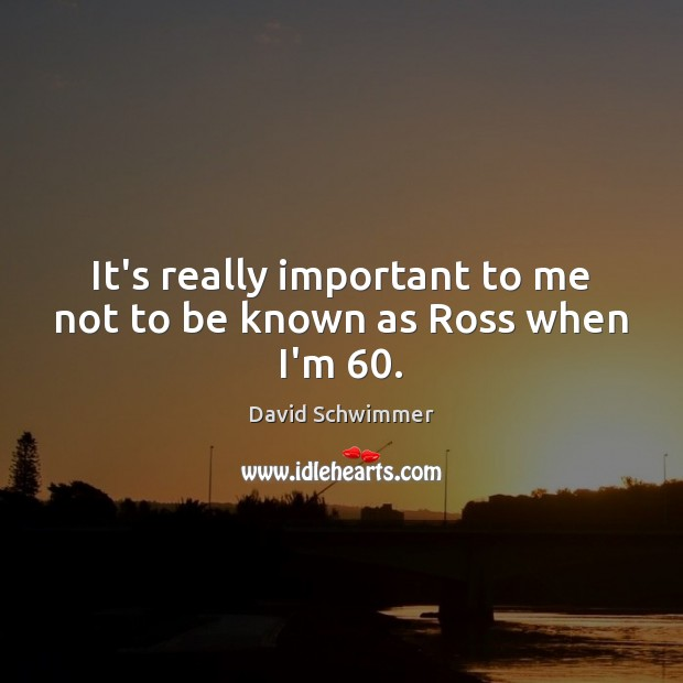 It's really important to me not to be known as Ross when I'm 60. Image