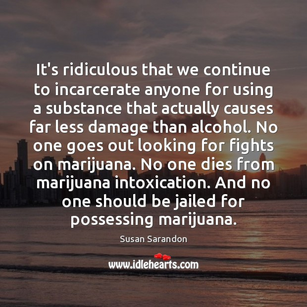 It's ridiculous that we continue to incarcerate anyone for using a substance Image