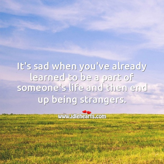 It's sad when someone who is your life, becomes a stranger Sad Messages Image