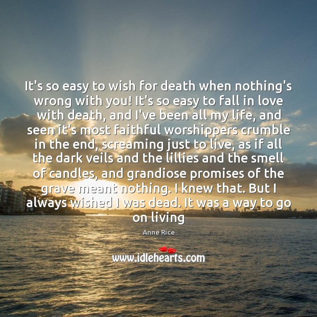 It's so easy to wish for death when nothing's wrong with you! Image