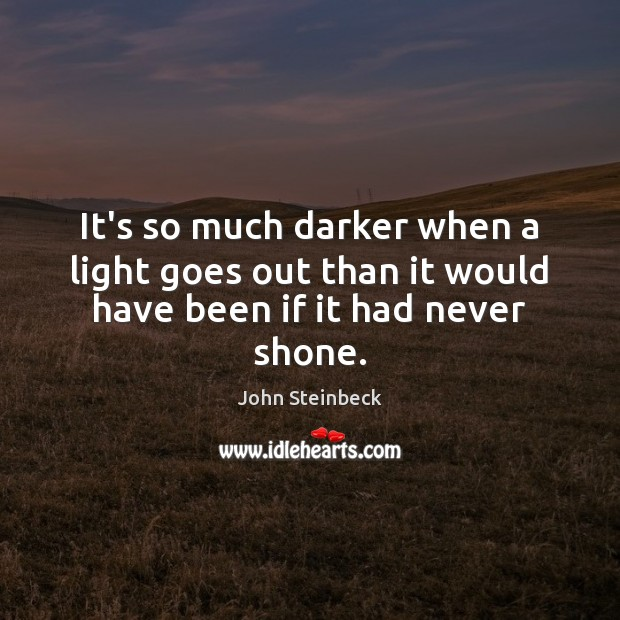 It's so much darker when a light goes out than it would have been if it had never shone. Image