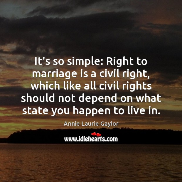 Image, It's so simple: Right to marriage is a civil right, which like