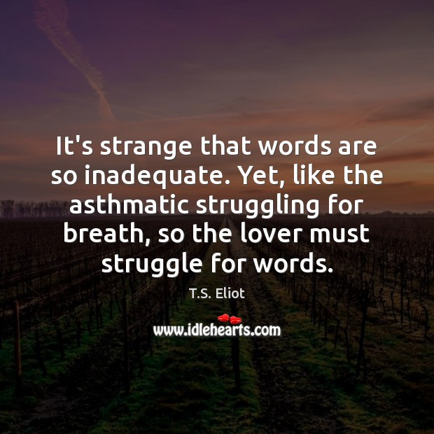 Image, It's strange that words are so inadequate. Yet, like the asthmatic struggling
