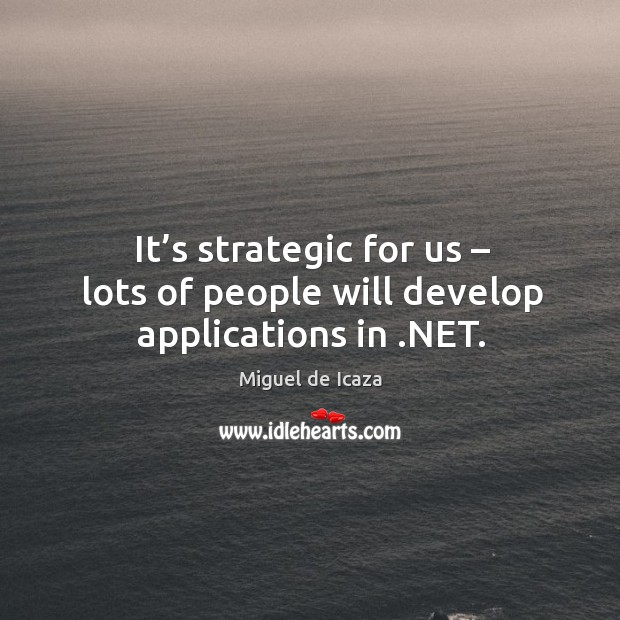 It's strategic for us – lots of people will develop applications in .net. Image