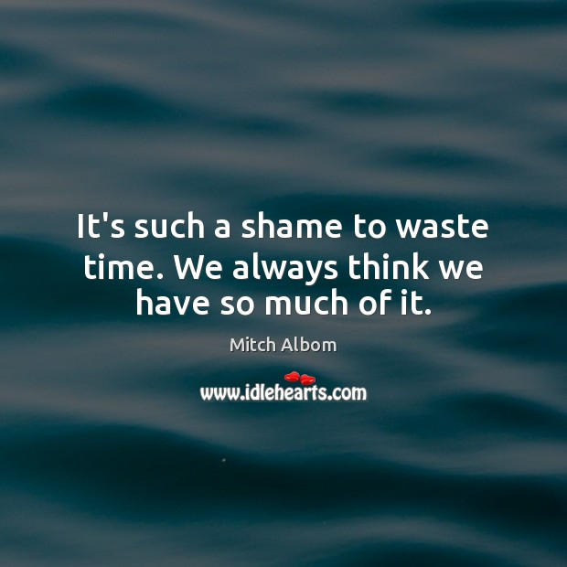 It's such a shame to waste time. We always think we have so much of it. Mitch Albom Picture Quote