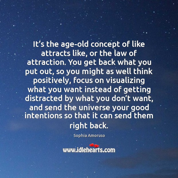 It's the age-old concept of like attracts like, or the law Good Intentions Quotes Image