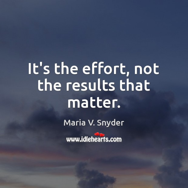 It's the effort, not the results that matter. Maria V. Snyder Picture Quote