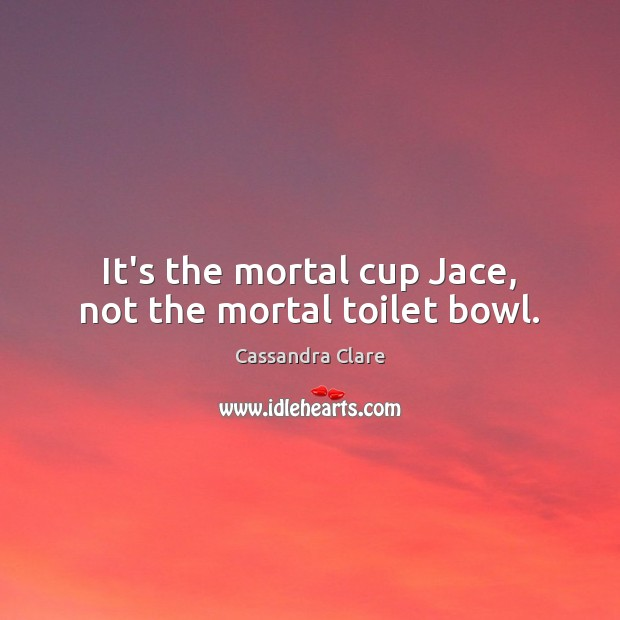 It's the mortal cup Jace, not the mortal toilet bowl. Image