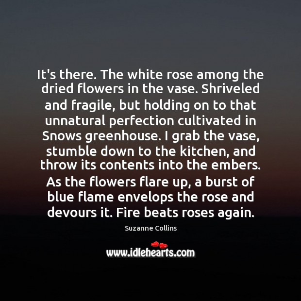 It's there. The white rose among the dried flowers in the vase. Image
