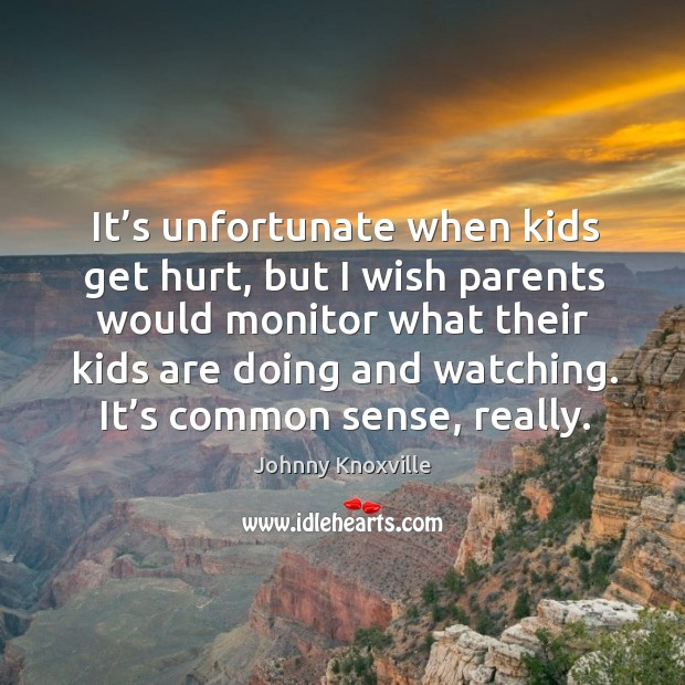 It's unfortunate when kids get hurt, but I wish parents would monitor what their Johnny Knoxville Picture Quote
