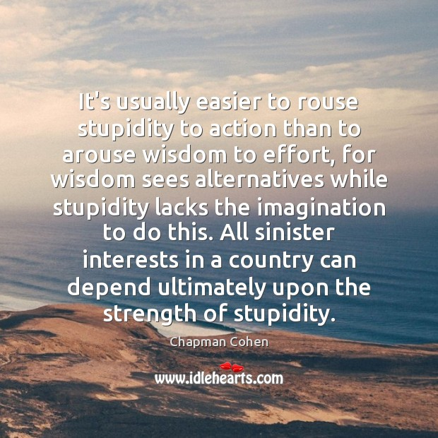 It's usually easier to rouse stupidity to action than to arouse wisdom Image