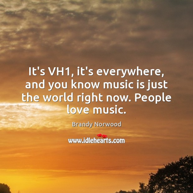 It's VH1, it's everywhere, and you know music is just the world Image