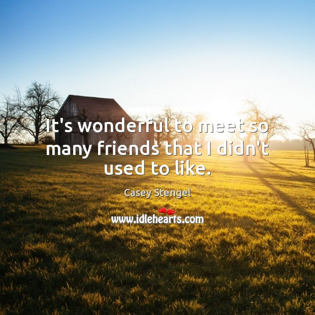 Image, It's wonderful to meet so many friends that I didn't used to like.