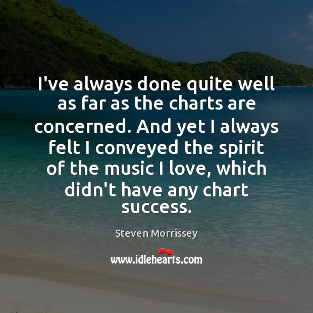 I've always done quite well as far as the charts are concerned. Steven Morrissey Picture Quote