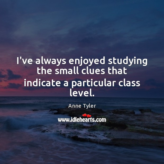 I've always enjoyed studying the small clues that indicate a particular class level. Anne Tyler Picture Quote