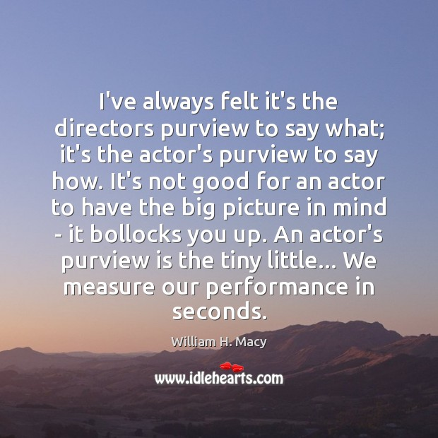 William H. Macy Picture Quote image saying: I've always felt it's the directors purview to say what; it's the