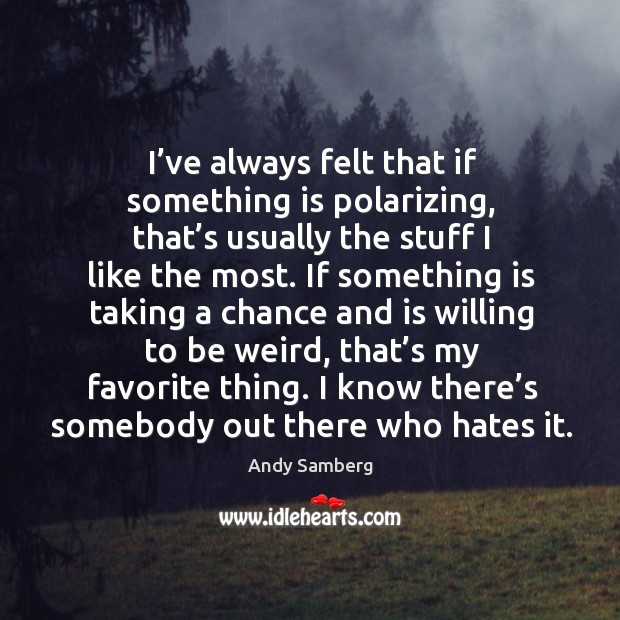 I've always felt that if something is polarizing, that's usually the stuff I like the most. Andy Samberg Picture Quote