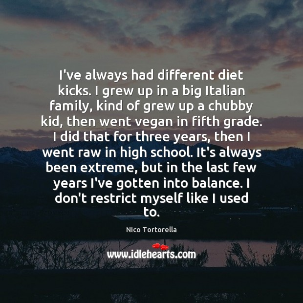 I've always had different diet kicks. I grew up in a big Image