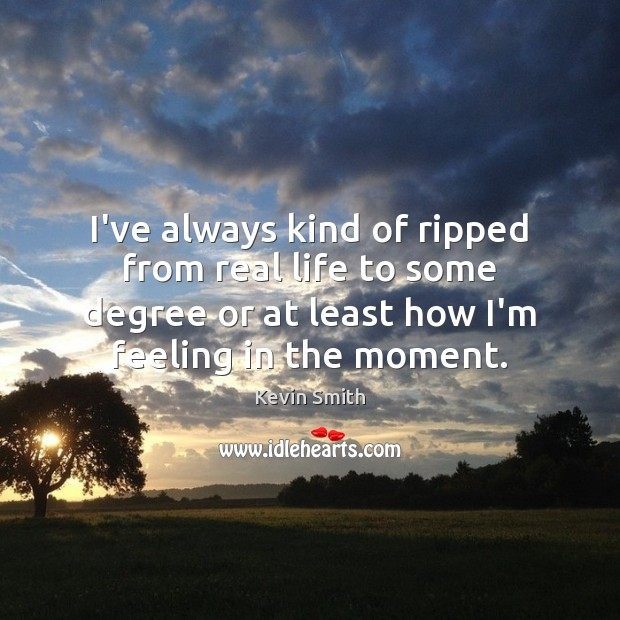I've always kind of ripped from real life to some degree or Kevin Smith Picture Quote